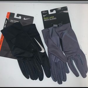 🔐 LOT OF 2 PAIR NIKR THERMA / BASE LAYER GLOVES